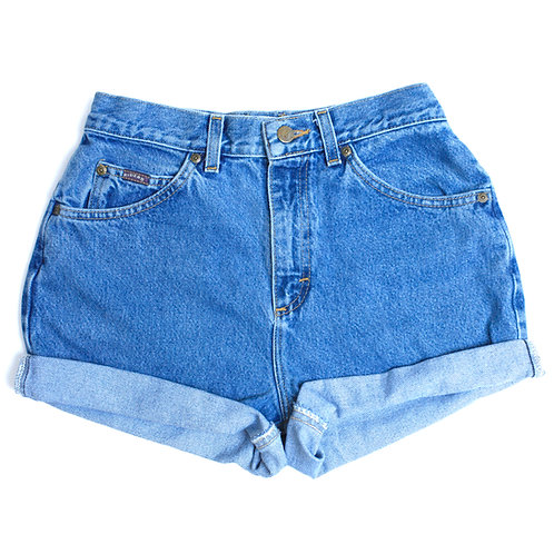 Vintage Riders By Lee Light/Medium Blue Wash High Waisted Rise Denim Jean Shorts