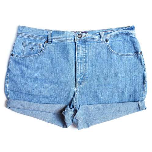 Vintage Light Wash High Rise Cuffed Shorts - 35