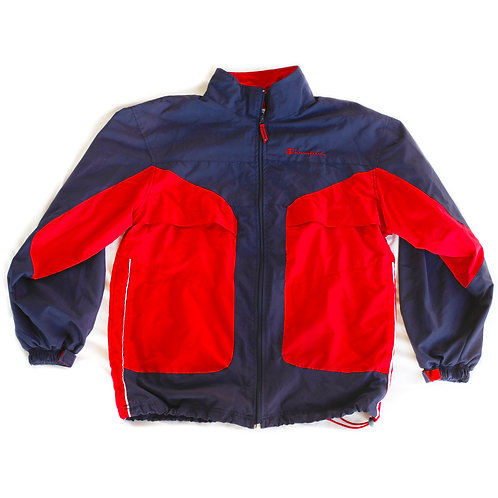 Vintage Champion Embroidered Navy Blue and Red Windbreaker Zip Jacket - Small