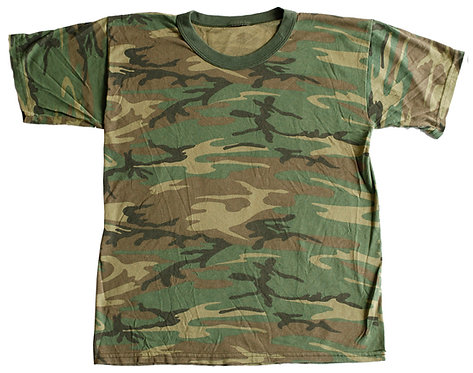 Vintage 80s Camouflage Authentic Army Green Thin Soft T-Shirt - M
