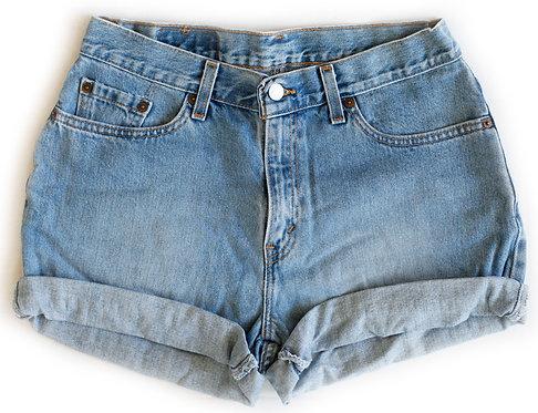 Vintage Levi's Medium Blue Wash High Rise Cuffed Shorts - Sz 30