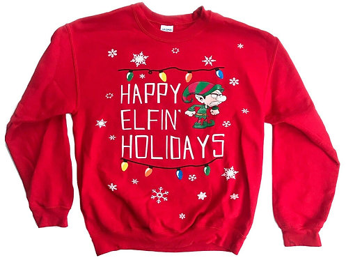 """Ugly Christmas Sweater Party """"Happy Elfin' Holidays"""" - M"""