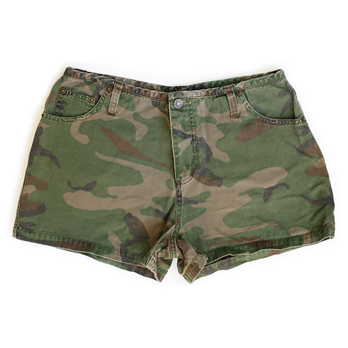 Vintage Y2k dfx jeans Camouflage Mid-High Rise Shorts - 28