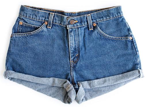 Vintage Levi's Medium Blue Wash High Waisted Rise Cut Offs Cuffed Rolled Denim Shorts - 27/28