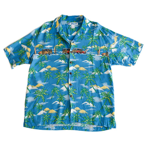 Vintage 90s/Y2k Utility Blue Multi-Color Collared Short Sleeve Button Up Beach Shirt