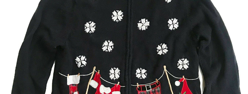VTG Ugly Christmas Sweater Party Santa's Clothesline Cardigan - S