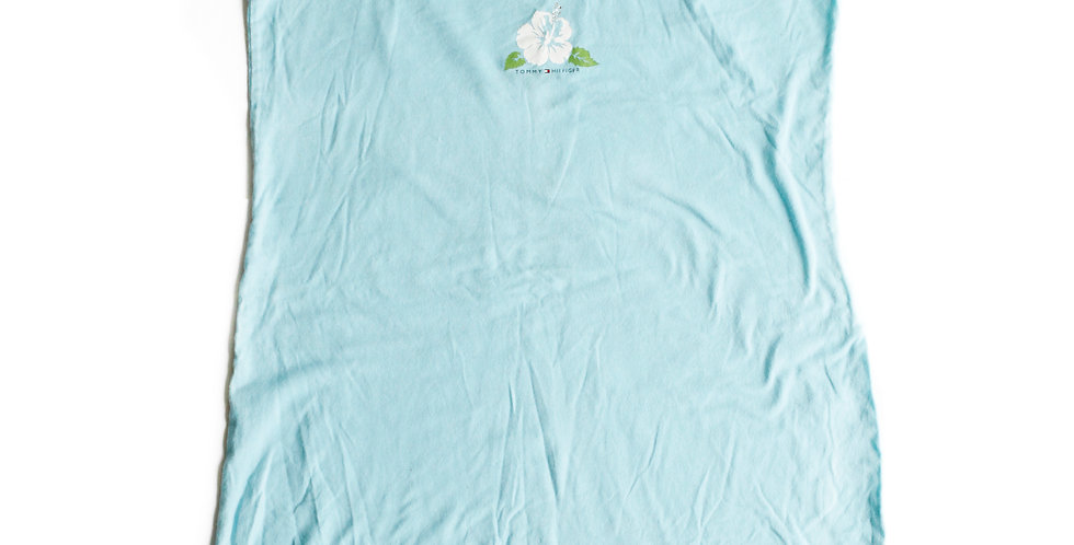 Vintage y2k Tommy Hilfiger Hawaiian Floral Spaghetti Strap Blue Mini Dress Nightgown w/ Rhinestone Detail