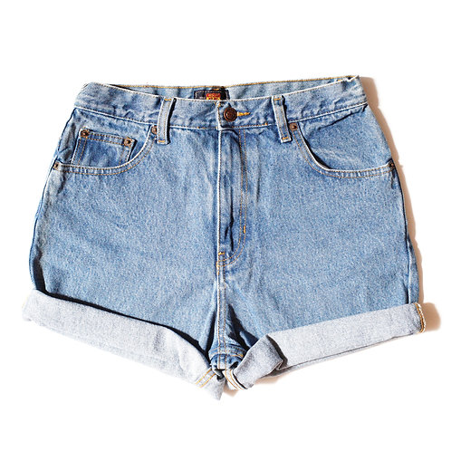 Vintage Route 66 Light Wash High Rise Cuffed Shorts - 28