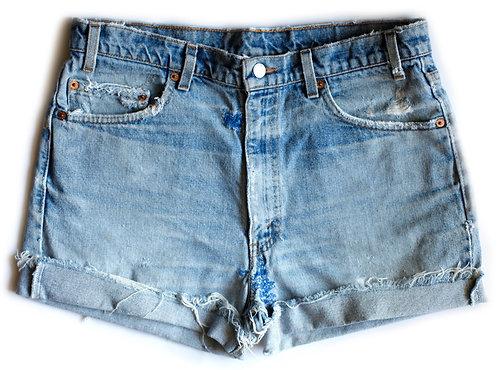 Vintage Levi's Light/Medium Blue Wash Distressed High Waisted / Rise Patchwork Cut Offs Cuffed Denim / Jean Shorts