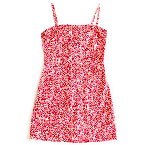 Vintage 90s Floral Spaghetti Strap Mini Summer Dress - S/M