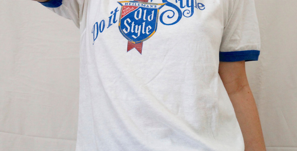 "Vintage 80s Heileman Brewing Company ""Do It With Old Style"" Lager Beer Blue & White Short Sleeved Ringer Tee / T-Shirt - L"