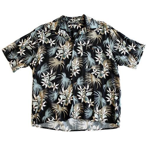 Vintage Neutral Tropical Palm Leaves Button Up Beach Shirt - L