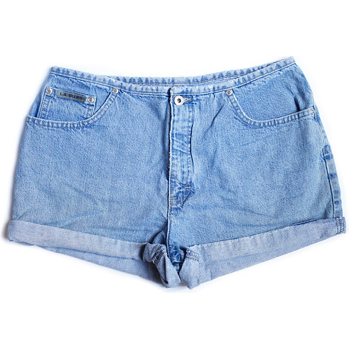 Vintage L.A. Blues Light / Medium Blue Wash High Waisted Rise Denim / Cuffed Jean Shorts