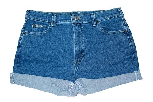 Vintage Lee Medium/Dark Blue Wash High Rise Cuffed Shorts - Sz 30/31