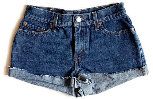 Vintage Levi'sMedium/Dark Blue Wash High Waisted/ Rise Cut Offs / Cuffed Cut Offs / Denim / Jean Shorts