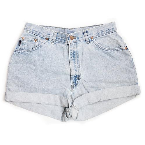 Vintage Chic Light Wash High Rise Denim Cuffed Shorts - 31