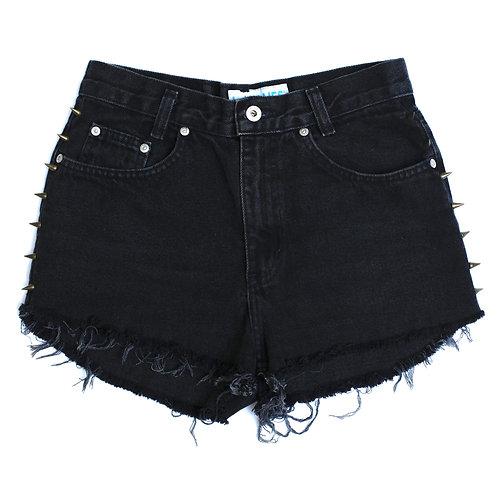 Vintage L.A. Blues Black Studded High Waisted Rise Cut Offs Jean Denim Shorts