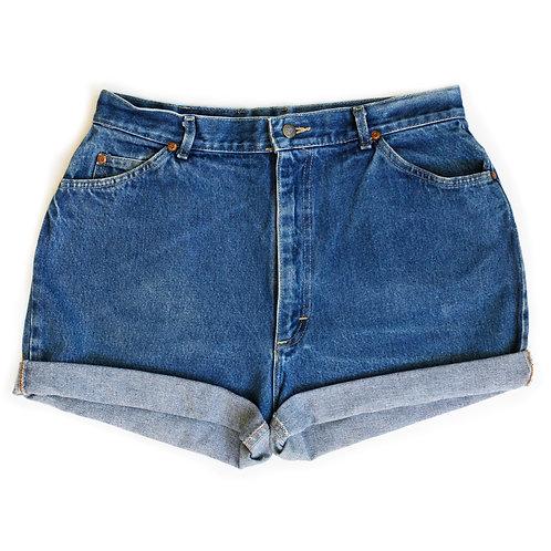 Vintage Lee Medium/Dark Wash High Rise Denim Cuffed Shorts - 33/34