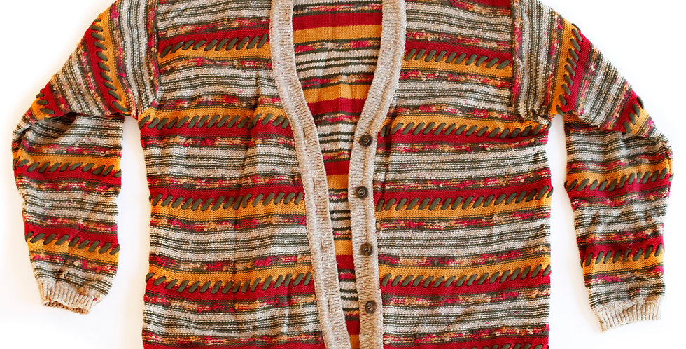 Vintage 90s Grunge Striped Button Up Multi-Color Knit Cardigan Sweater