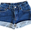 Thumbnail: Vintage Levi's Dark Blue Wash High Rise Cuffed Shorts - Sz 24/25