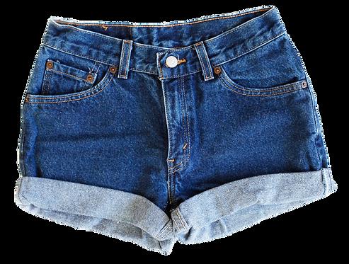 Vintage Levi's Dark Blue Wash High Rise Cuffed Shorts - Sz 24/25
