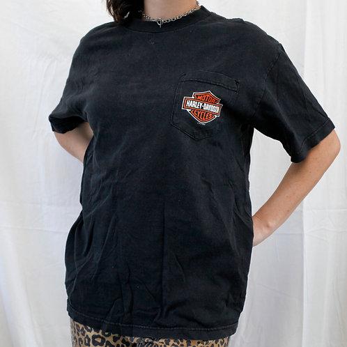 "Harley Davidson ""Thunder Tower"" Columbia, South Carolina Logo 2009 Pocket Short Sleeved Black Tee / T-Shirt"