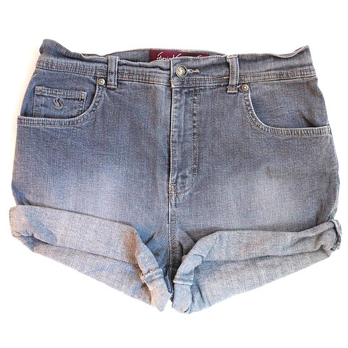 Vintage Gray High Rise Denim Cuffed Shorts - 28/29