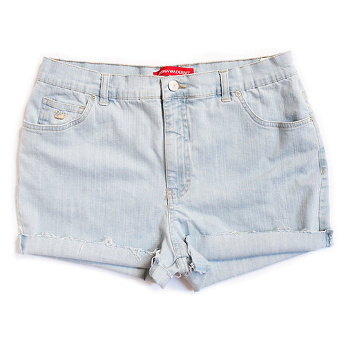 Vintage Light Wash High Rise Cuffed Shorts - 33/34