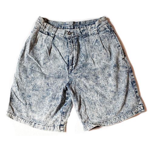 Vintage 80s Light Acid Wash Pleated High Rise Shorts - 31