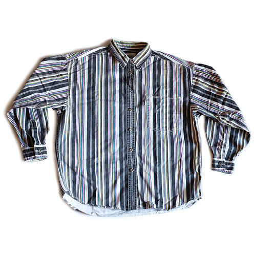 Levi's Pinstripe Multi-color Green Purple Blue White & Black Collared Button Down Long Sleeved Shirt