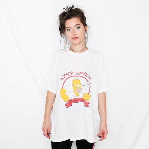 Vintage Single Stitch The Simpsons Homer Atomic Dad White T-Shirt - L