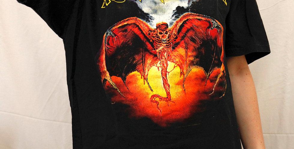 "Vintage 1992 Iron Maiden ""Fear of the Dark"" Tour Short Sleeved Black Tee / T-Shirt - XL"