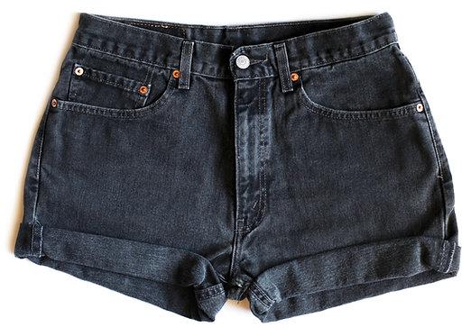 Vintage Levi's Black High Waisted / Rise Cuffed Denim / Jean Shorts