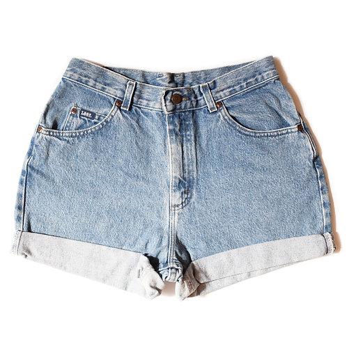 Vintage Lee Light Wash High Rise Cuffed Shorts - 29