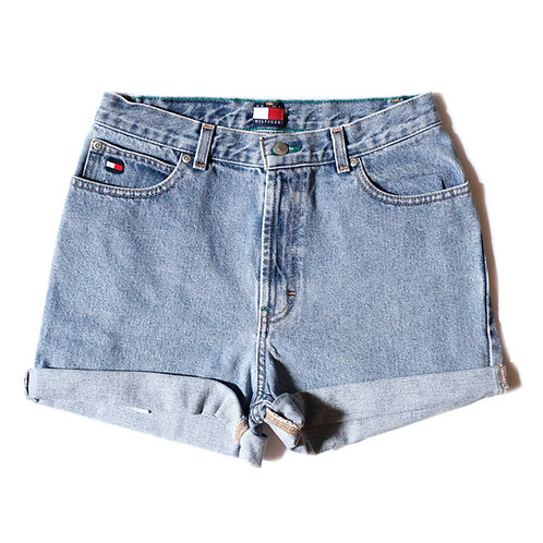 Vintage Tommy Hilfiger Light Wash High Waisted Cuffed Denim Shorts - 27