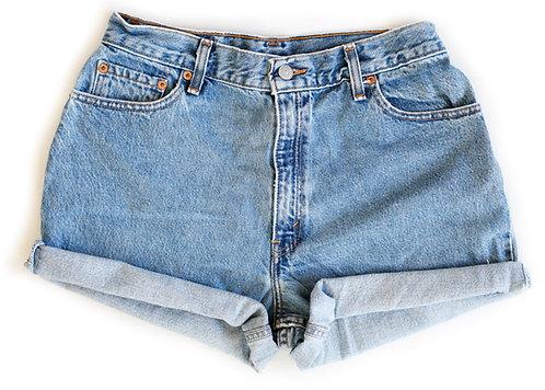 Vintage Levi's Medium Blue Wash High Rise Cuffed Shorts