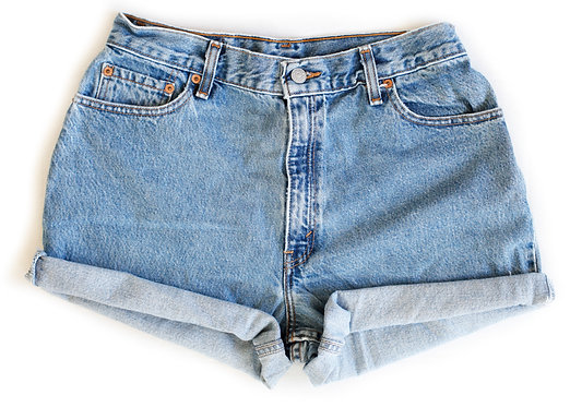 Vintage Levi's Medium Blue Wash High Rise Cuffed Shorts