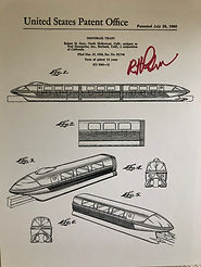 Disneyland Monorail Patent Posters, Signed By Bob Gurr