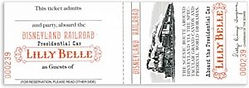 Vintage Disneyland Railroad Lilly Belle Tickets / Walt Disney