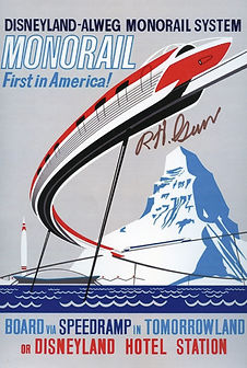 Disneyland Monorail Attraction poster signed by Disney legend Bob Gurr
