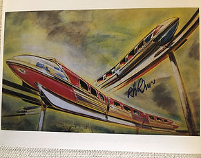 Disneyland Monorail Drawing by Bob Gurr and signed by Bob Gurr