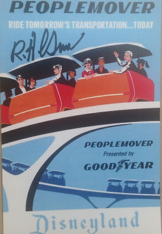 Disneyland People Movers Attraction Poster, signed by Disney Legend Bob Gurr
