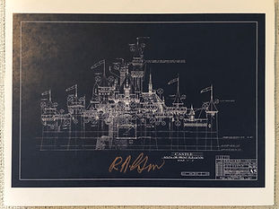 Disneyland Sleeping Beauty Blue Back Ground Attraction Poster signed by Bob Gurr