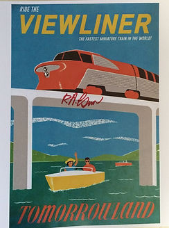 Disneyland Viewliner Attraction Poster signed by Bob Gurr