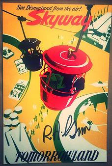 Disneyland Sky Bucket Attraction Poster signed by Disney Legend Bob Gurr