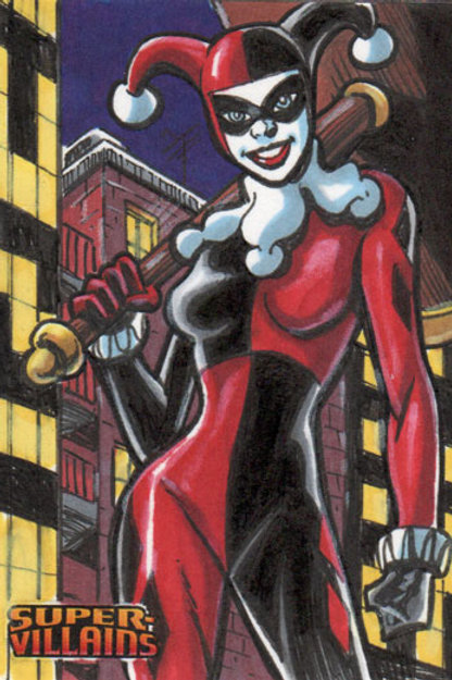 DC Comics Super Villains Harley Quinn sketch card