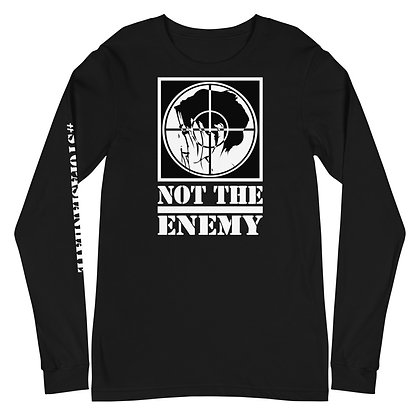 "Stop Asian Hate Unisex Long Sleeve Tee, ""#STOPASIANHATE"" down the right sleeve"