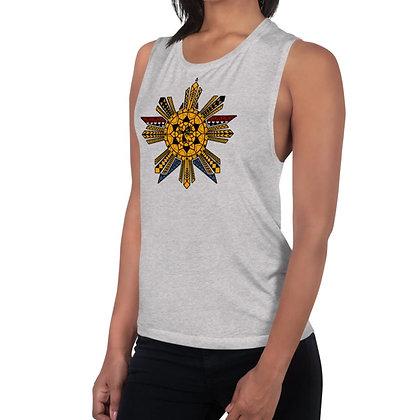 Modern Fil-Am Flag Tattoo (Batok) Ladies' Muscle Tank