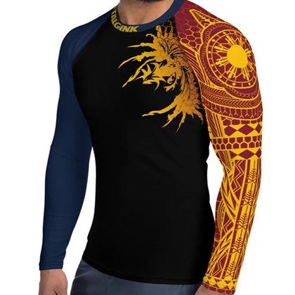 Modern Filipino Tattoo (Batok) Style Men's Rash Guard (Philippine Flag Colorway)