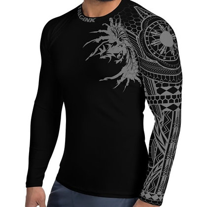 Modern Filipino Tattoo (Batok) Style Men's Rash Guard (black and gray)